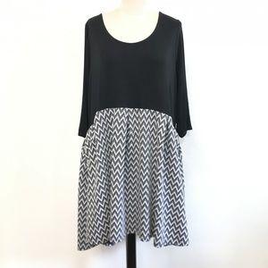 Modcloth Fervour Black/White Chevron Midi Dress 4x